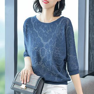 针织衫秋季新款女2019韩版宽松显瘦打底衫时尚七分袖上衣