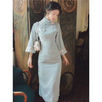 旗袍中国风新年轻款少女复古走秀改良旗袍连衣裙长款气质优雅 水蓝色 S