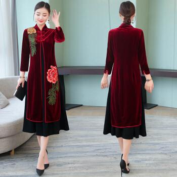 女婚宴开衫连衣裙女装春秋舒适旗袍外套宴会礼服两件套 黑红色 XL