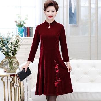 旗袍秋冬中国风复古改良式长袖妈妈装连衣裙中长款优雅旗袍裙 酒红色