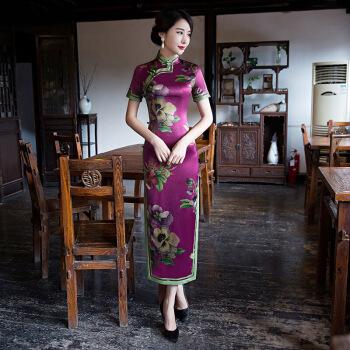 旗袍改良款e2019夏季新款传统旗袍长款复古风旗袍女改良中国风宴会旗袍裙