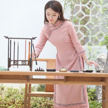 旗袍改良版连衣裙秋长袖女装复古民国风棉麻旗袍女长款气质