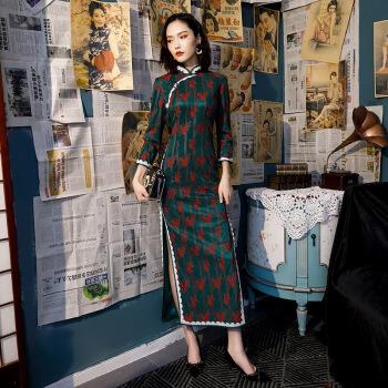 中国风旗袍女长袖开叉旗袍长款开叉女修身长袖中国风复古蕾丝气质优雅旗袍墨绿色连衣裙