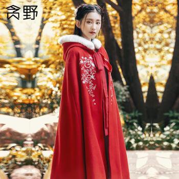 汉服斗篷女长款汉服斗篷女冬季加厚长款保暖汉服搭配袄裙毛呢外套 红色【加绒款】 均码