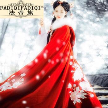 轻奢品牌斗篷长款汉服女2020新款女装中国风加厚连帽呢红白色仙气披风古装 红色加绒毛呢连帽毛领加绒斗篷