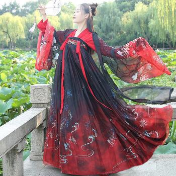 原创彼岸花汉服女齐胸襦裙日常学生汉服中国风大袖衫 上儒+3米襦裙+大袖衫 XS