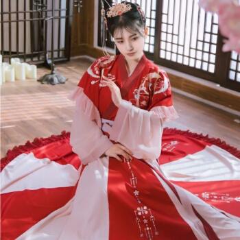 改良汉服女学生刺绣齐胸套装中国风古装大袖六米裙 夜未央(半臂+里衣+12片六米下裙) S