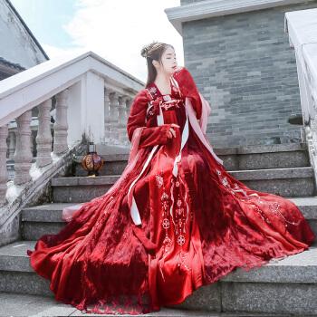 汉服女锦宫齐胸襦裙6米大摆刺绣中国风学生花嫁红色古装仙气 上衣+襦裙(红色套装) L