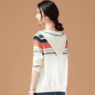 长袖条纹连帽针织衫外套女装2020春季新款潮宽松薄款毛衣开衫