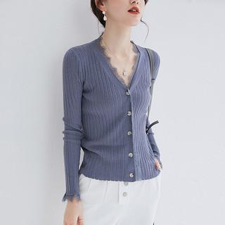2019羊毛衫女春装2020新款针织开衫时尚V领气质蕾丝拼接毛衣