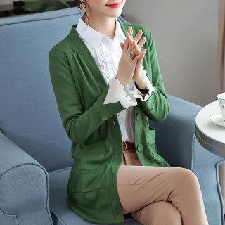 2020春装新款韩版女装长袖纯色中长款开衫喇叭袖针织衫薄款宽松外套