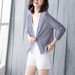 2020春季新款女纯色简约修身七分袖短款针织开衫