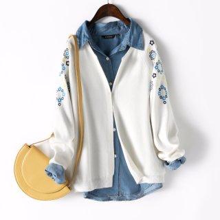 2020春简约时尚刺绣装饰宽松显瘦长袖针织开衫女