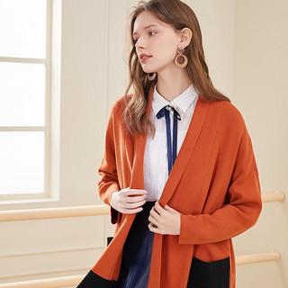 2020春季新款宽松撞色中长款慵懒风开衫长袖毛衫针织衫外套女