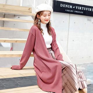 2020春季新款女士时尚开衫针织衫毛衣 复古文艺风中长款女外套