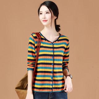 秋季条纹针织衫外套女装2020春季新款潮宽松韩版休闲毛衣开衫