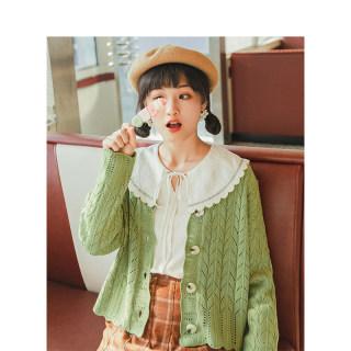 春装新款绿色V领镂空宽松针织开衫毛衣