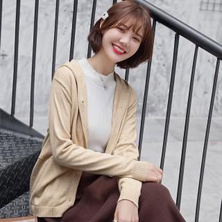 新款针织开衫女纯色韩版大码连帽卫衣长袖针织外套