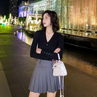 黑色v领短款紧身打底针织衫女2020春装新款开衫毛衣外套百搭上衣