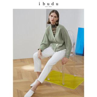 2020春季新款V领单排扣宽松短款开衫长袖针织外套女