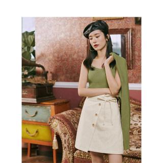 复古文艺夏加尔毛衣两件套小吊带开衫牛油果绿针织套装