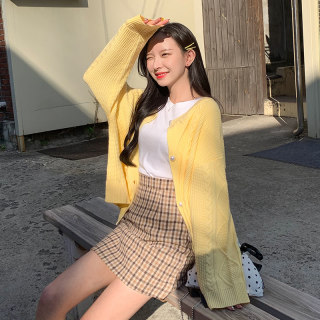 2020韩版春装新款短款上衣女甜美超仙百搭宽松针织开衫