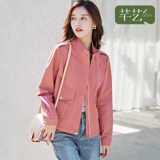 红色外套女韩版宽松学生2020春装新款红色长袖开衫上衣夹克