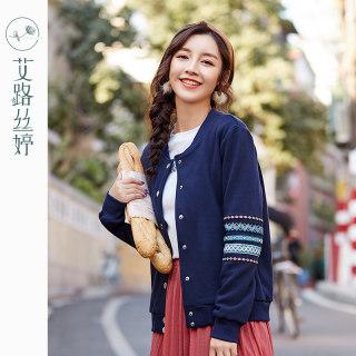 刺绣加绒外套女新款韩版长袖休闲宽松开衫棒球服