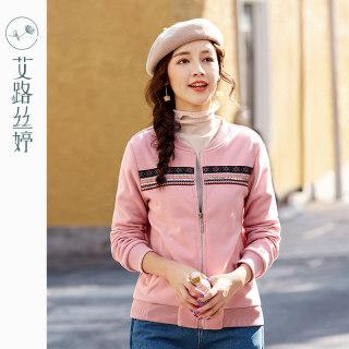 新款韩版宽松加绒开衫外套女刺绣棒球服休闲上衣