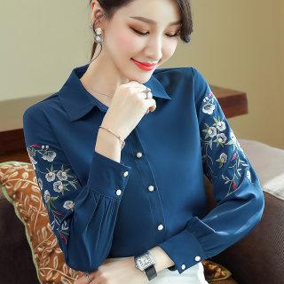 2020春季新款女装POLO领衬衫绣花长袖打底衫开衫上衣宝蓝色雪纺衫