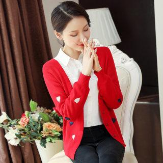 2020春装新款女装绣花V领上衣 外穿修身显瘦红色针织衫开衫短外套