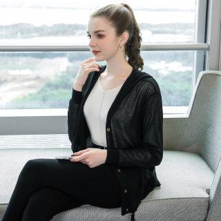 2020春装新款200斤胖mm连帽开衫大码女装时尚抽绳连帽针织衫