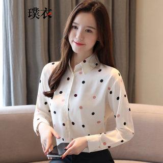 2020春装新款 女韩版百搭波点雪纺POLO领开衫气质宽松长袖衬衫