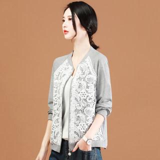2020新款韩版棒球服女镂空蕾丝薄款春季外搭开衫外套立领