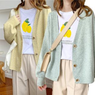 2020春季新款休闲V领韩版开衫长袖针织衫 慵懒居家女士纯色毛衣