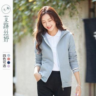 连帽加绒卫衣外套女装新款韩版拉链开衫休闲上衣