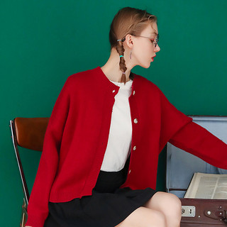 2020红色毛衣复古短款开衫女秋冬新款宽松外穿慵懒风春季外套