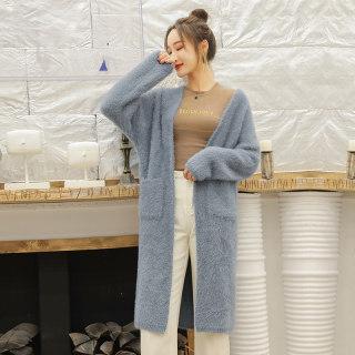 2020春季女士时尚潮流仿水貂绒毛绒开衫中长款秋冬毛衣外套