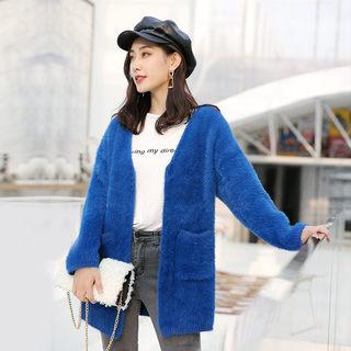 2020春季女士新品纯色毛呢开衫短外套 简约时尚仿水貂绒毛衣