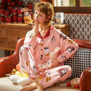 春季新款针织棉睡衣女小翻领女士韩版开衫简约印花居家服套装