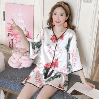 多款可选 版冰丝睡衣女夏季短袖女士开衫家居服两件套装
