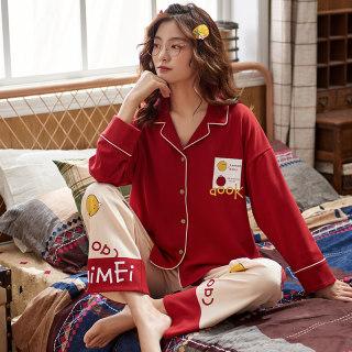 春季新款针织棉睡衣女小翻领长袖女士韩版开衫印花居家休闲服套装