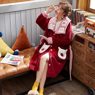 法兰绒睡衣女冬季珊瑚绒加厚连帽家居服开衫两件套装