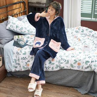 兰绒睡衣女冬季珊瑚绒加厚连帽家居服开衫两件套装