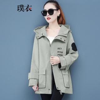 2020春装新款 女韩版休闲风连帽印花工装开衫拉链宽松长袖外套