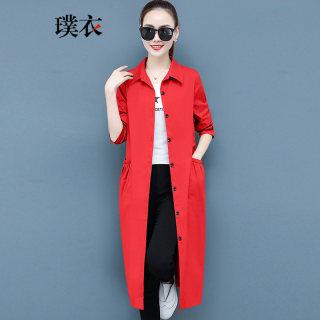 2020春装新款 女韩版POLO领开衫风衣薄款宽松中长款长袖外套