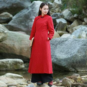 当季新品文艺范棉麻改良旗袍连衣裙中长款2020春季新品民族风复古盘扣女装 红色
