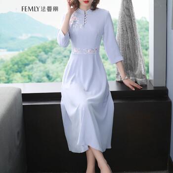 2020新款中国风复古旗袍改良版连衣裙O1068 浅蓝色 M