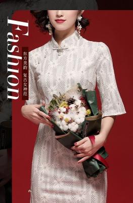 当季新品中长款旗袍蕾丝短袖纯色2020春季新款修身改良复古连衣裙提花高端女装20005 白色 M