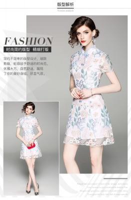 当季新品 改良旗袍短款修身2020春装新品刺绣花短袖少女连衣裙中国风复古